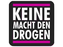 Logo: Keine Macht den Drogen mit dunklem Hintergrund